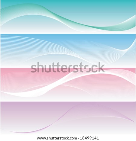 four different elegant and smooth banners or web site headers, also suitable as business cards - stock vector