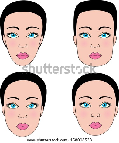 Four different female face shapes - stock vector
