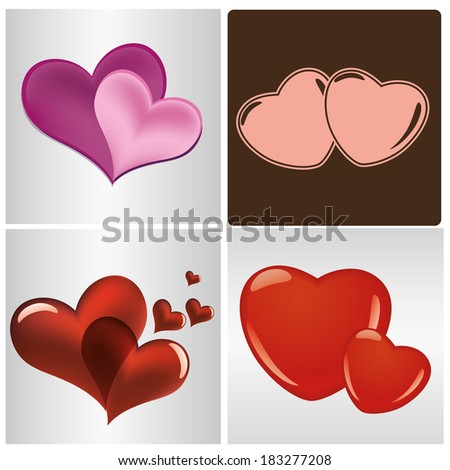 four different hearts with different colors in different backgrounds