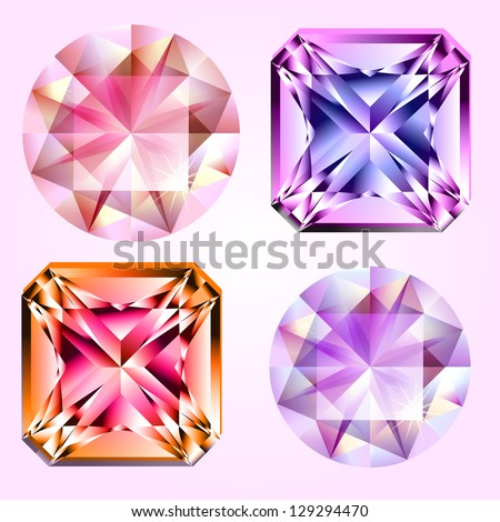 Four different kind of gems - stock vector