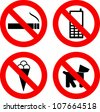 Four different not allowed signs over white background - stock photo