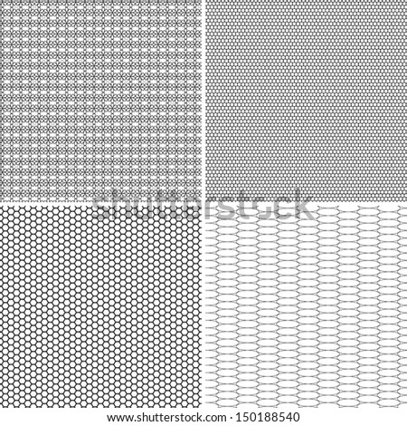 Four different seamless pattern in one file collected. Black and white vector illustration - stock vector