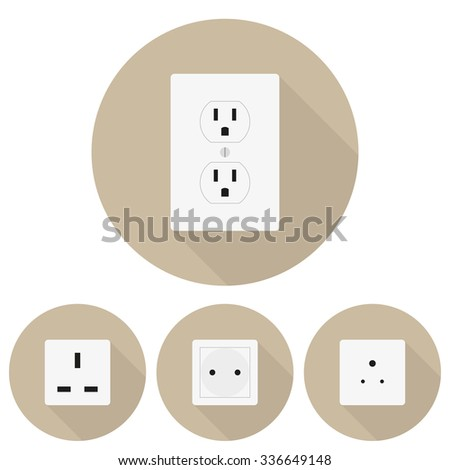 Four  different types of sockets in a flat design - stock vector