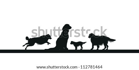 four dog silhouettes - stock vector