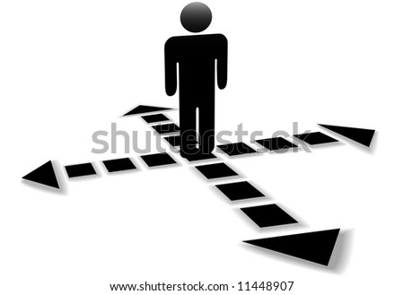 Four dotted line arrows point in 4 directions, point the way, at the decision intersection of a person. - stock vector