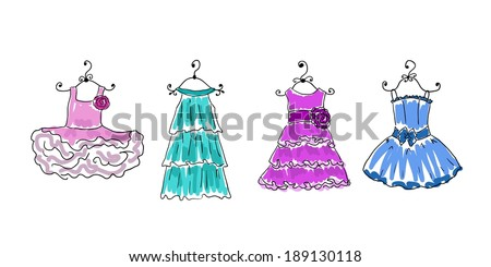four dresses of different coloring on hangers - stock vector