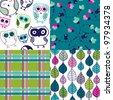 Four easy to edit seamless retro owl bird leaf pattern background in vector - stock vector