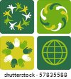 Four ecological template backgrounds with globe motive - stock vector