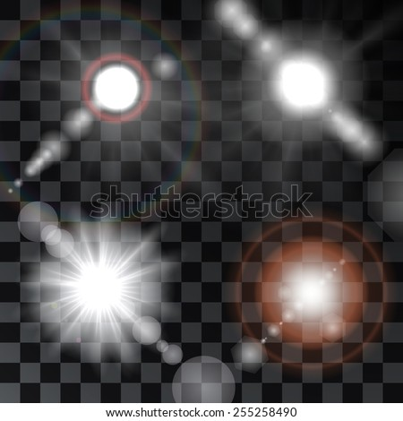 Four effects of a powerful glow (radiance) emanating from the sun or other strong light source. Vector illustration - stock vector