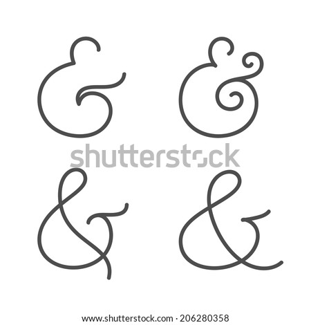 Four elegant and stylish custom ampersands for wedding invitation or business card. Vector illustration - stock vector