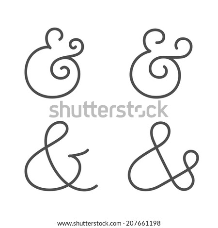 Four elegant and stylish custom ampersands for wedding invitation or business card. Vector illustration - stock vector