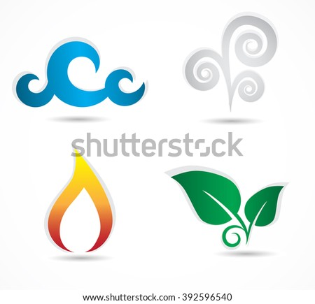 Four elements - collection of traditional, classic symbol icons. Vector art.