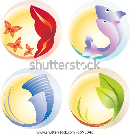 Four elements (vector). Fire, water, air, ground - stock vector