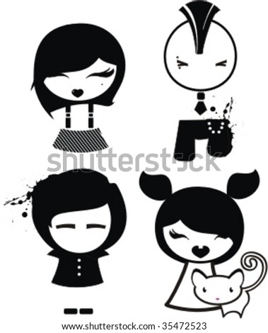 four emo characters - stock vector