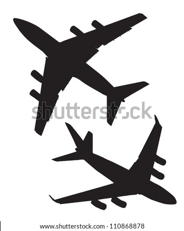 Four-engine jet airliners in the air isolated on white background - stock vector