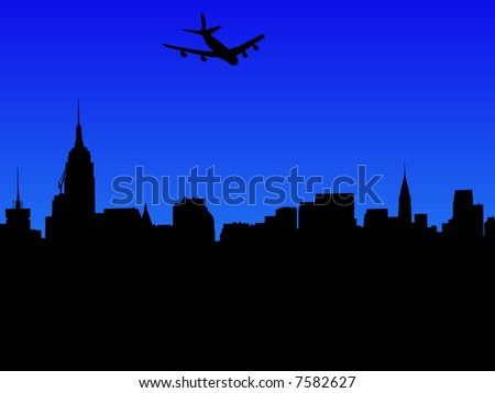 four engine plane arriving in Midtown Manhattan skyline with over 30 separate buildings in eps format - stock vector
