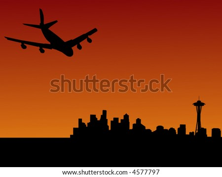 four engine plane flying towards Seattle at sunset - stock vector