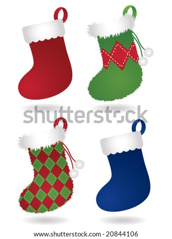 Four festive Christmas stockings: two traditional style stockings and two fuzzy, patterned stockings - stock vector
