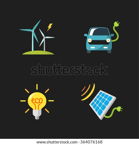 four flat eco icons - stock vector