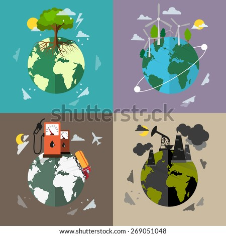 Four flat ecology background. Environment, pollution and conservation concept