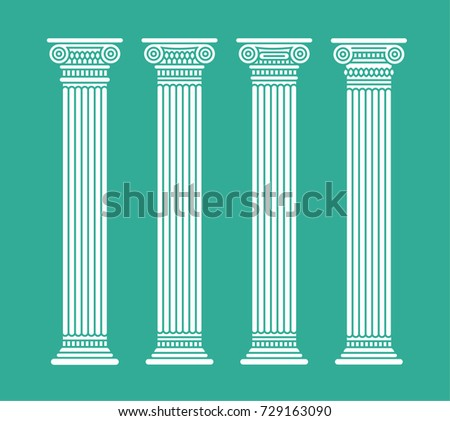 Four flat long white graphic antique roman columns. Isolated. Vector illustration.