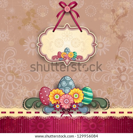 Four floral banners decorated with Easter eggs and hens on several levels - stock vector