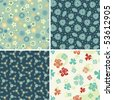 four floral patterns in set - stock vector