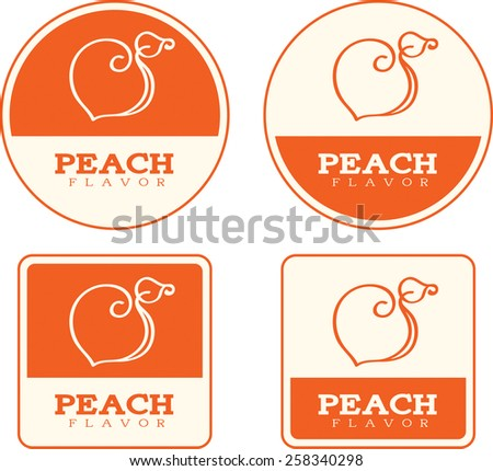 Four food label designs with a peach theme and illustration. - stock vector