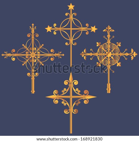 Four forged cross on a blue background