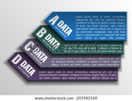 Four frame and text areas in the elevator for a business presentation (info graphics) - stock vector