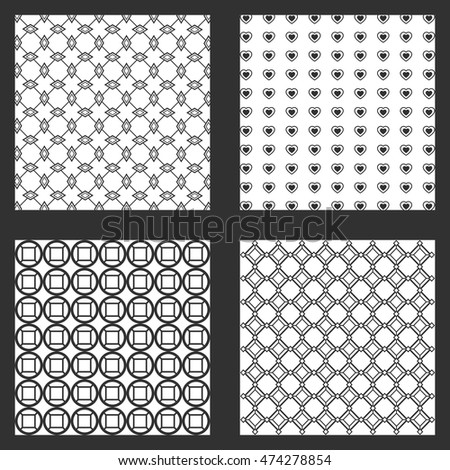 four frames wallpapers backgrounds pattern shape abstract geometry icon. Black white grey design. Vector illustration