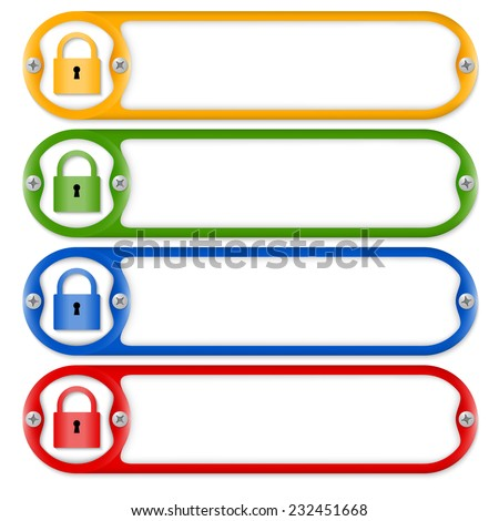four frames with screws and padlock - stock vector