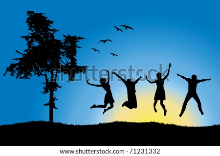 four friends jumping on field near tree, blue sky - stock vector