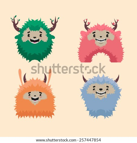 Four funny monsters with horns - stock vector