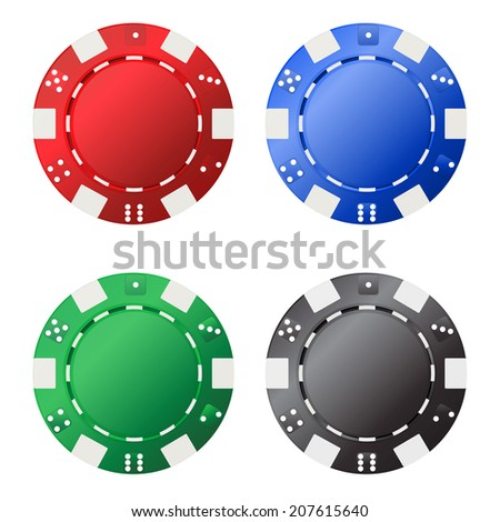 Four gambling chips (red, blue, green, black) for your designs isolated on white background. Vector illustration