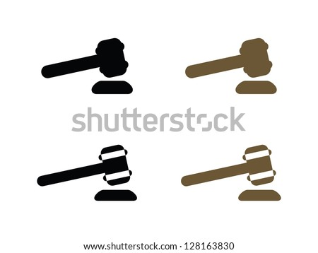 Four Gavel Icons. - stock vector