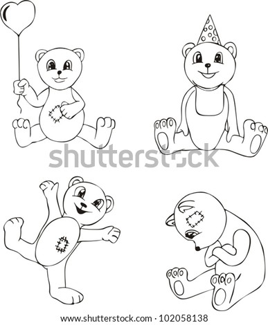 Four generic black and white sketches of Teddy Bear: with heart air balloon, happy, smiling and sad ones. Vinyl-ready EPS Illustrations.