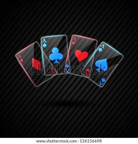 four Glass poker aces playing cards illustration transparent - stock vector