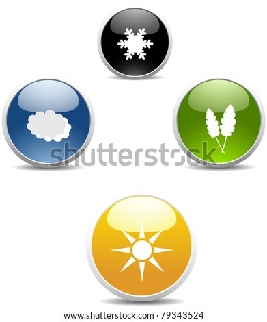 Four glossy icons with seasons - stock vector
