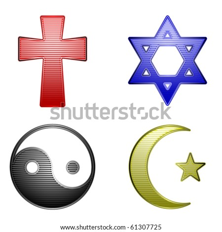 Four glossy stripped icons for different religions - stock vector