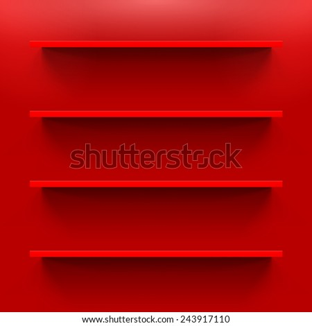 Four gorizontal bookshelves on the red wall - stock vector