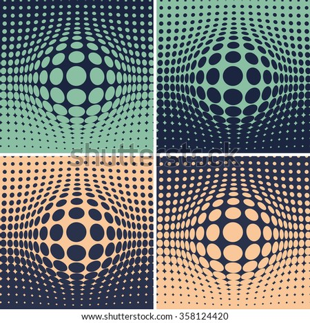 Four gradient backgrounds, an emerging sphere on a dotted plan, simple optical illusion of a surface distortion  - stock vector