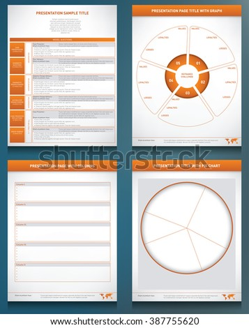 Four graphic templates with charts, graphs and columns to display information - stock vector