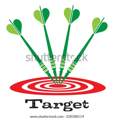 Four green darts on red target. Bullseye concept - stock vector