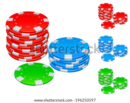 Four groups of color cambling chips.