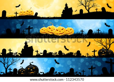 Four Halloween Banners with Pumpkins, House, Tree and Graves - stock vector