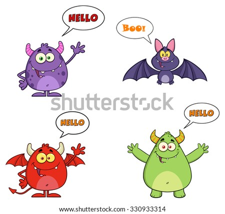 Four Halloween Cartoon Characters With Speech Bubbles And Text. Vector Collection Set - stock vector