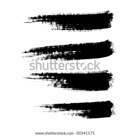four hand drawn paintbrushes, vector  without gradient