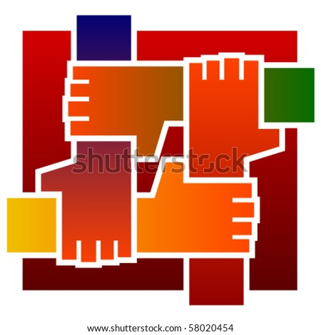 Four hands together - stock vector