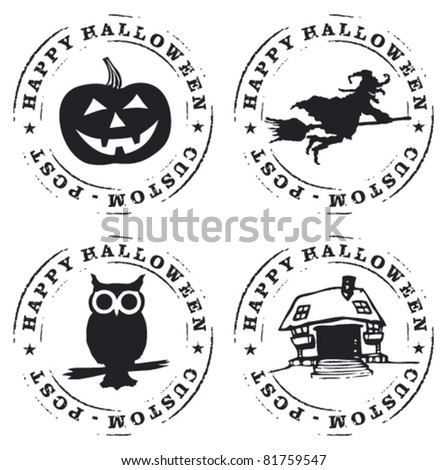 four happy halloween stamp - stock vector
